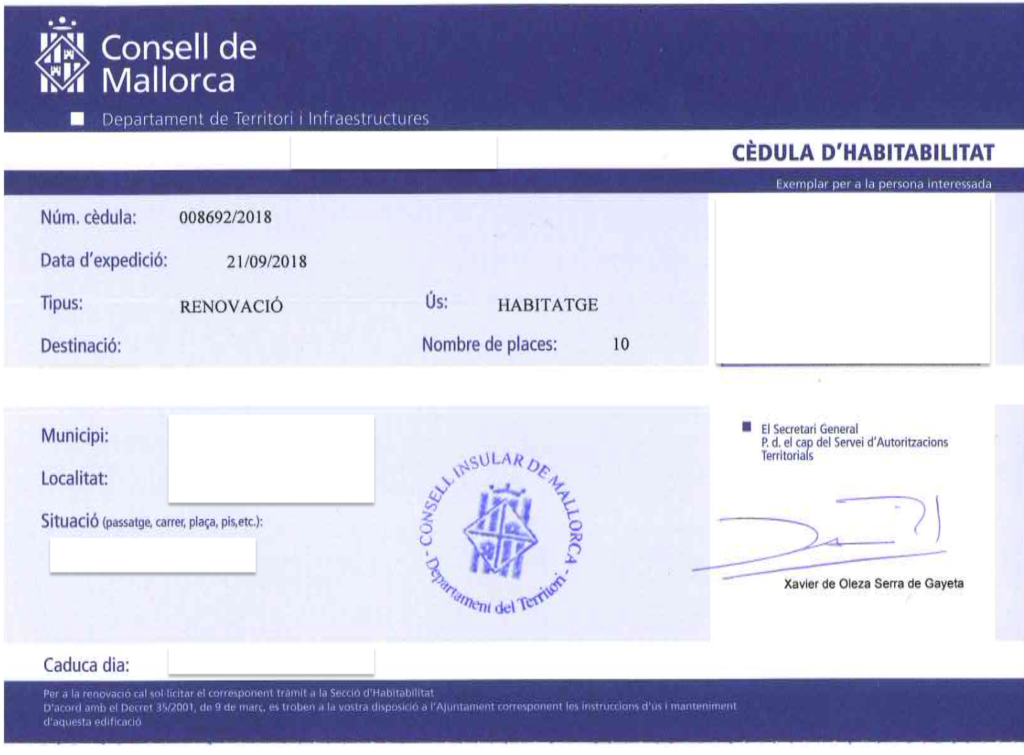 Habitability Certificate and legality in Mallorca